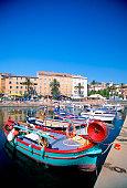 Fishing boats anchored at Ajaccio Harbor, Corsica, France