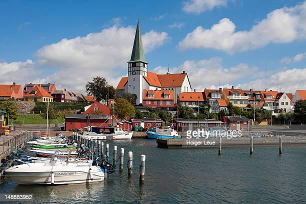 Fishing boats and church.