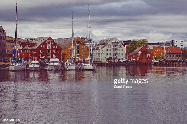 Fishing boats and Honningsvåg town center