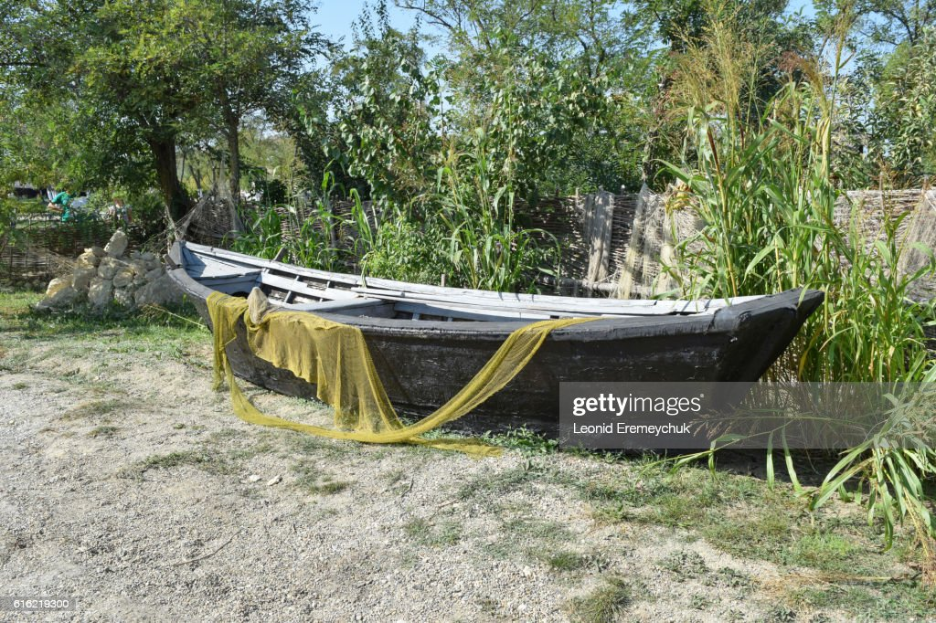 Fishing boats and nets : Stock Photo