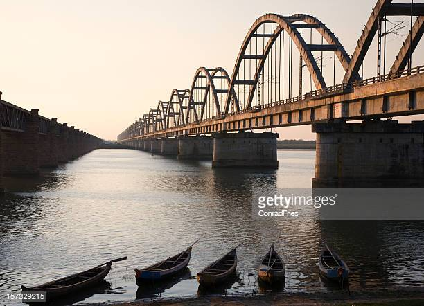 Fishing Boats and Railroad Brige in India