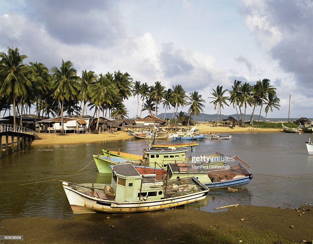 Fishing boats at village of Marang , Terengganu , Malaysia