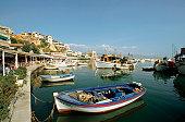 Fishing boats docked at Piraeus Harbor, Piraeus, Greece