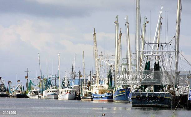 Fishing boats float along Bayou Lafourche June 28 2003 in Leeville Louisiana Seafood production is among the vital industries in Louisiana that are...