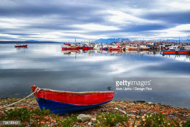 Fishing boats in a harbour, Chilean Patagonia