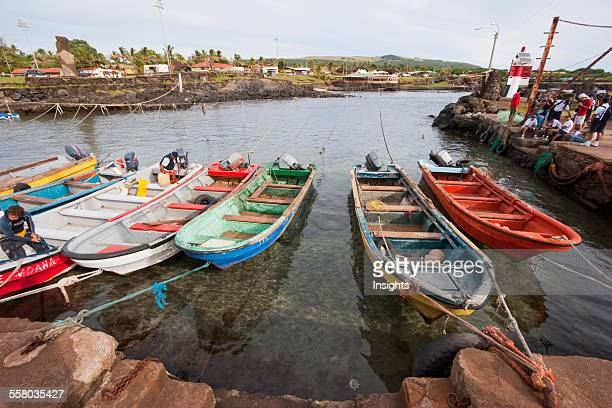 Fishing Boats In Hanga Roa Harbour Rapa Nui Chile