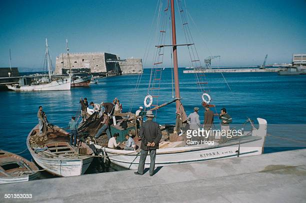 Fishing boats in Heraklion harbour Crete Greece circa 1965