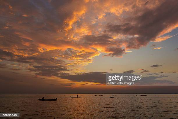 Fishing boats in Kerala at sunset