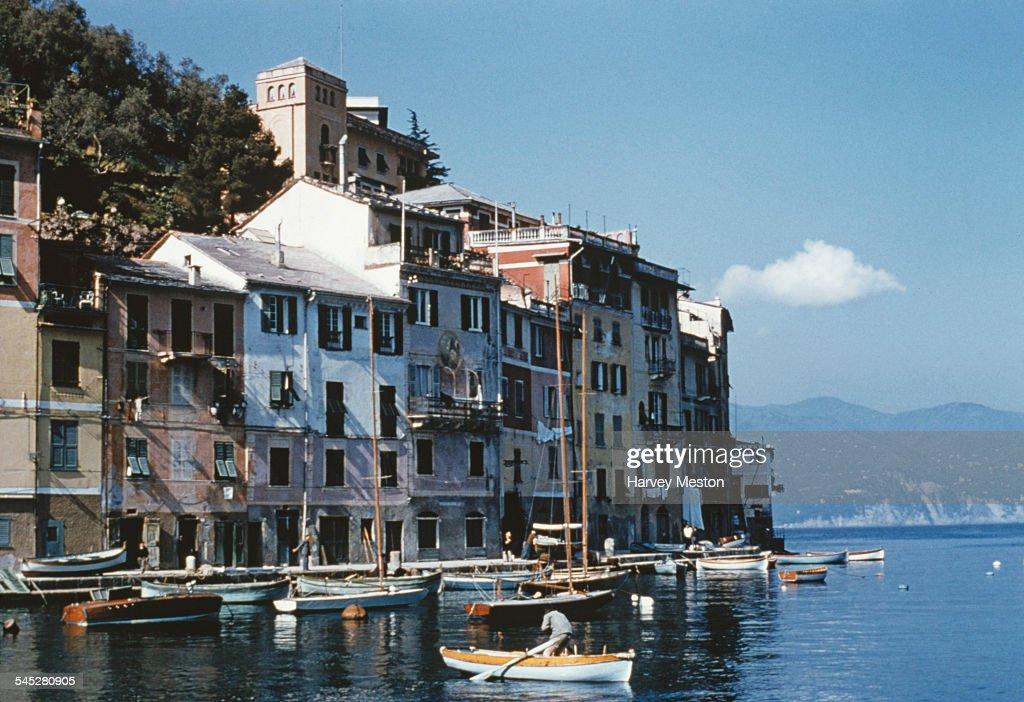 Fishing boats in Portofino harbour Italy circa 1960