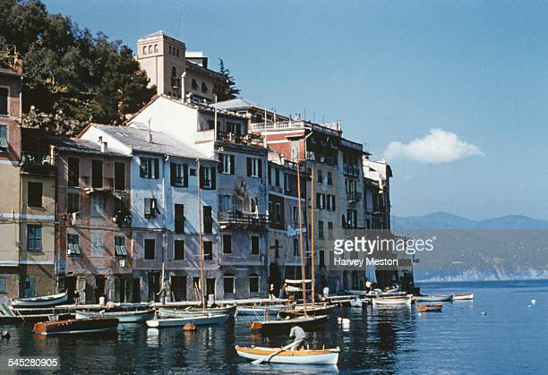 Fishing boats in Portofino harbour Italy circa 1960