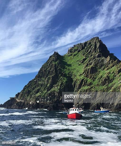 Fishing boats in the Atlantic near Skellig Michael Island, Ireland