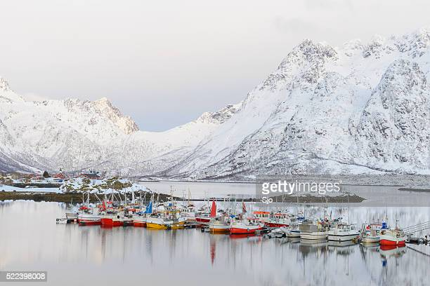 Fishing boats in the Austnesfjorden in winter in the Lofoten