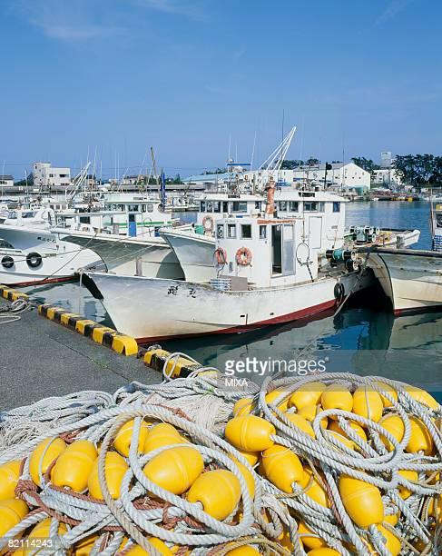 Fishing boats moored at port, Yaizu, Shizuoka, Japan