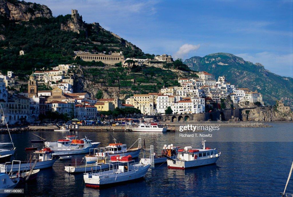 Fishing Boats Moored in Harbor at Amalfi