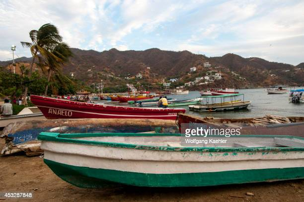 Fishing boats on beach at the fishing village of Taganga near Santa Marta
