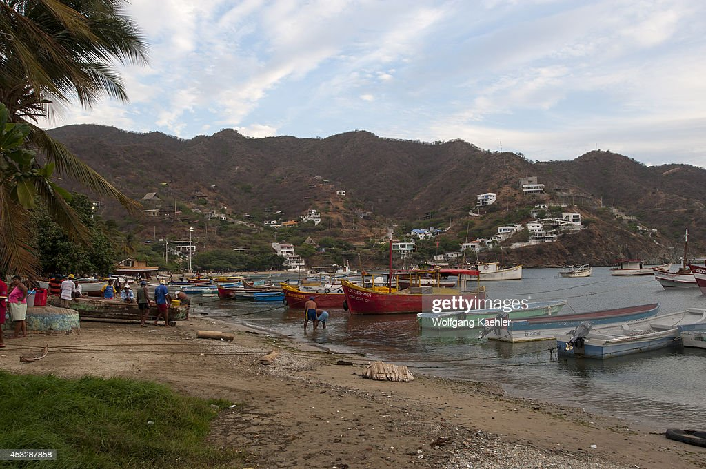 Fishing boats on beach at the fishing village of Taganga near Santa Marta