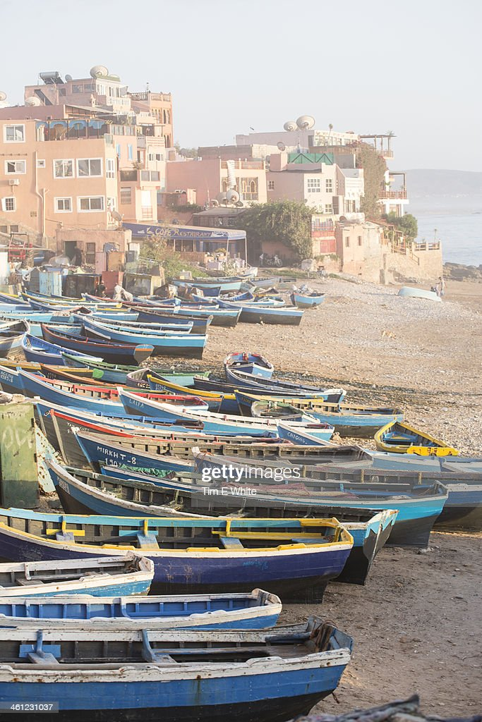 Fishing boats on beach, Taghazout, Morocco