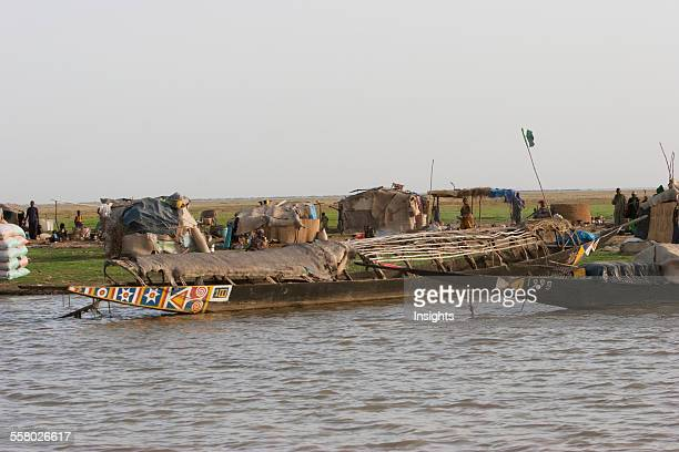 Fishing boats on Lake Debo formed by the seasonal flooding of the Niger River Mali