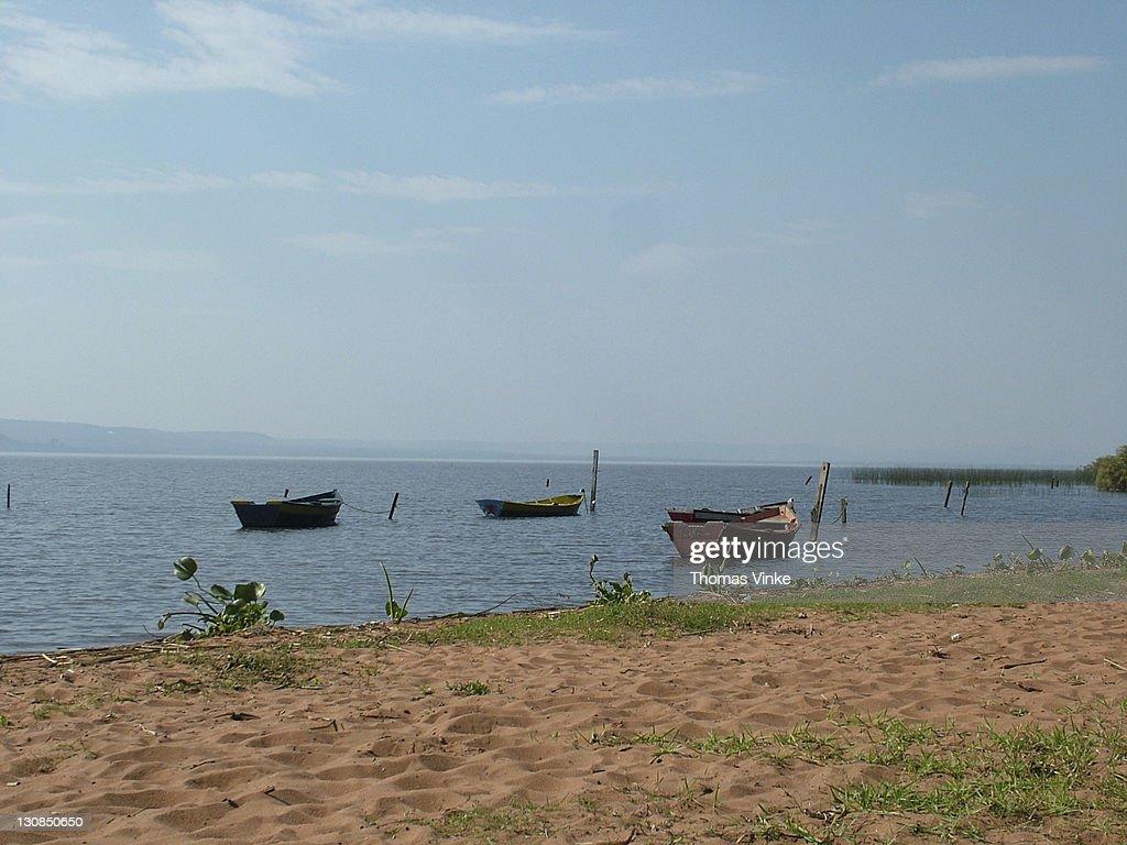 Fishing boats on lake ypacarai near asuncion paraguay for Nearest fishing lake