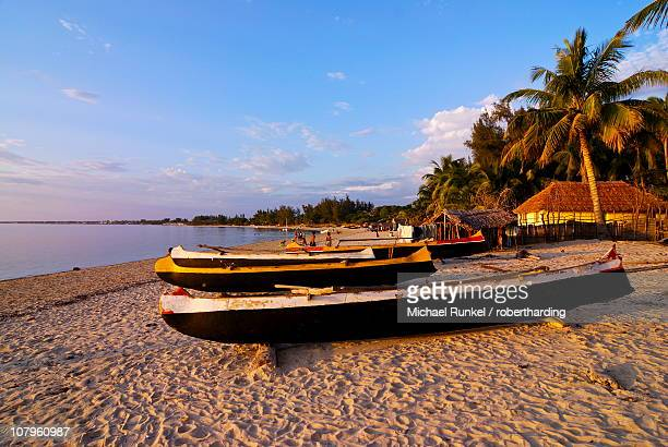 Fishing boats on the beach of Ifaty, near Toliara, Madagascar, Indian Ocean, Africa