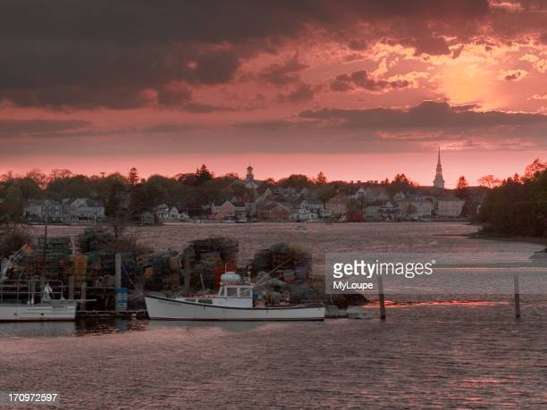 Fishing boats on the Piscataqua River at Portsmouth New Hampshire United States