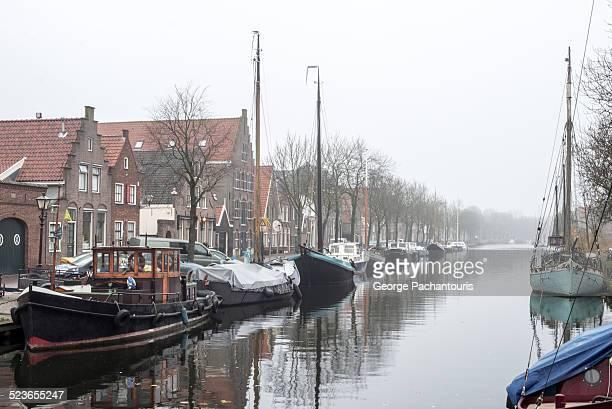 Fishing boats on the village Edam