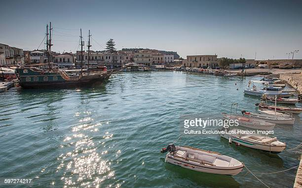 Fishing boats on waterfront, Crete, Greece