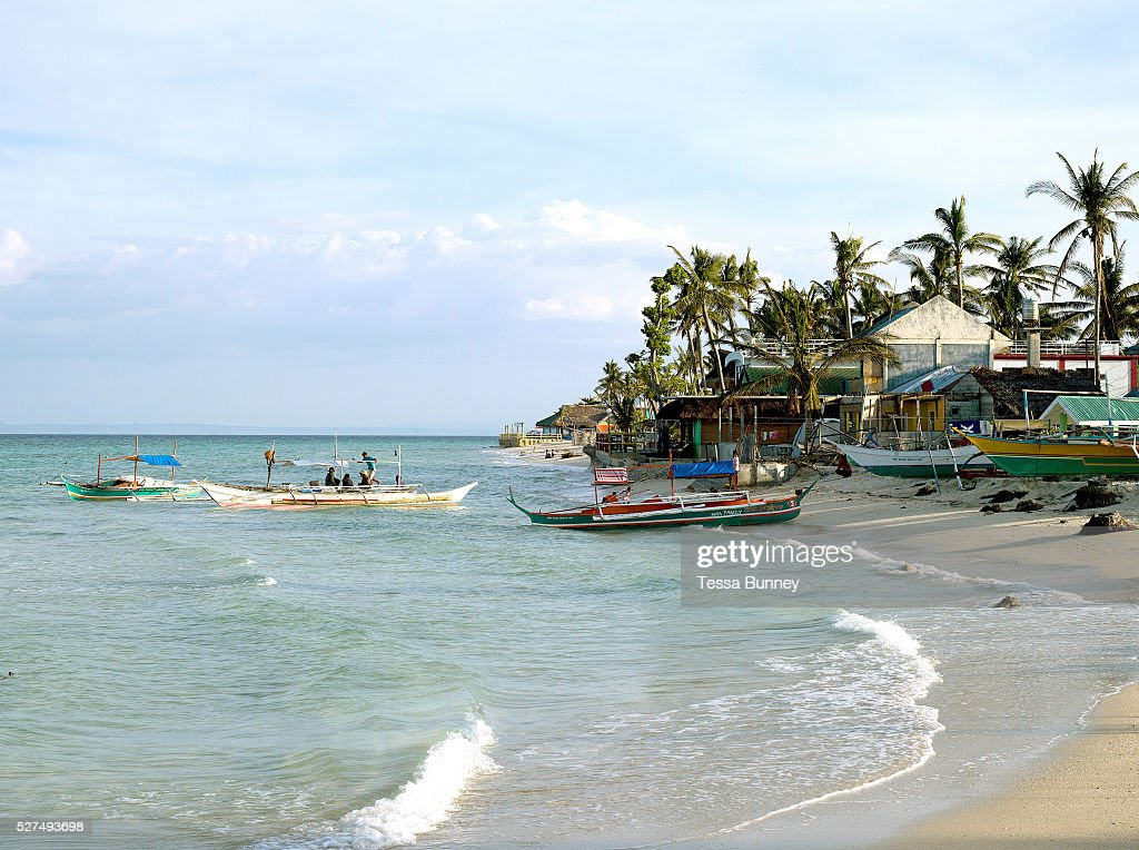 Fishing boats preparing to go out fishing Talisay Santa Fe Bantayan Island The Philippines On November 6 2013 Typhoon Haiyan hit the Philippines and...