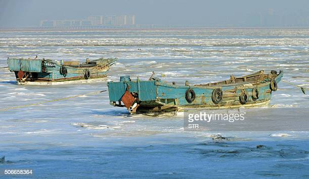 Fishing boats sit stuck in the ice of the frozen coastal waters of Jiaozhou Bay in Qingdao in eastern China's Shandong province on January 25 2016...