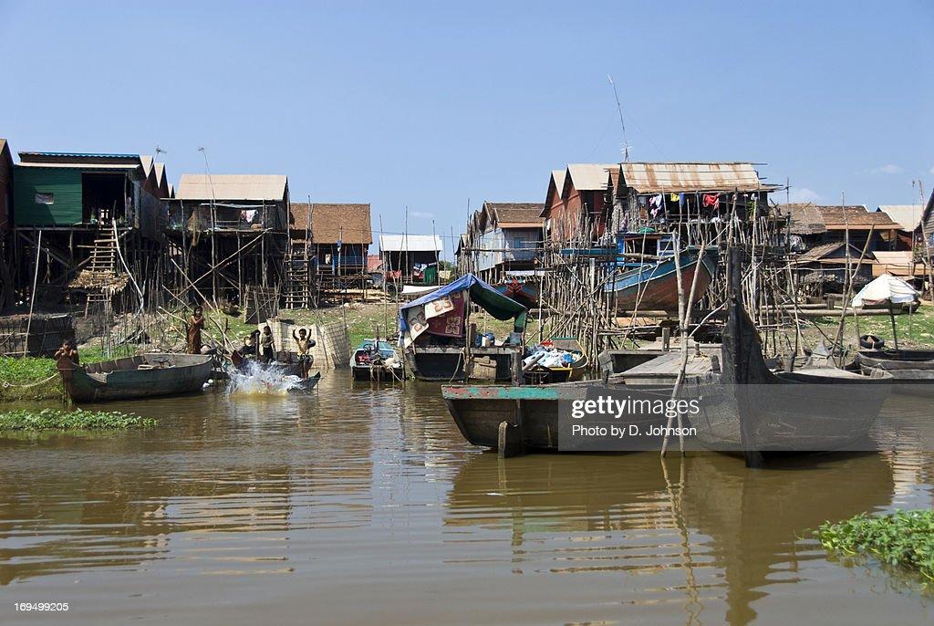 Fishing boats, stilt houses, Tonle Sap Lake : Stock Photo