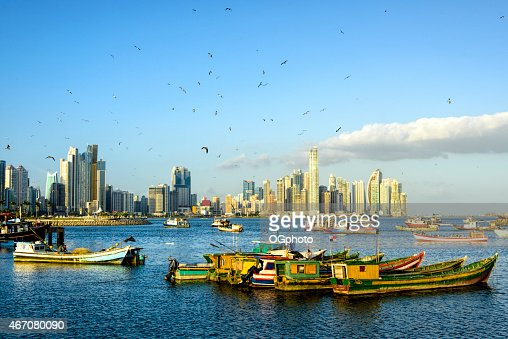 XXXL: Fishing Boats with Panama City skyline : Stock Photo