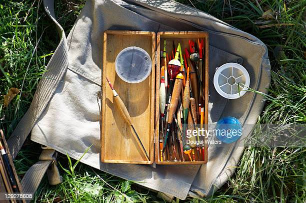 Fishing box with floats and tackle.