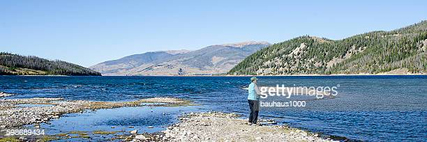 Fisherwoman stock photos and pictures getty images for Dillon reservoir fishing