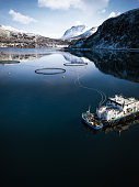 Fishing farm in Northern Norway in a fjord in Hilleshamn, Tromso province