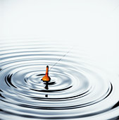 Fishing float creating ripples on surface of water