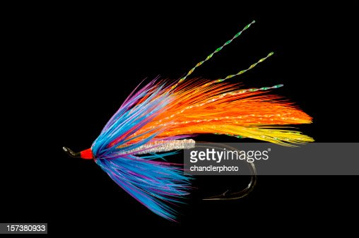 Fishing fly, blue, orange and yellow