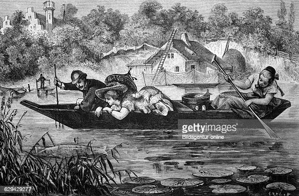 Fishing for pikes on a lake in west prussia historical illlustration about 1886