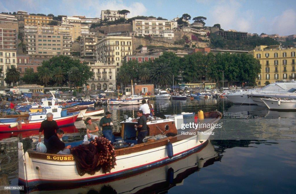 Fishing Harbor and Marina in Naples, Italy