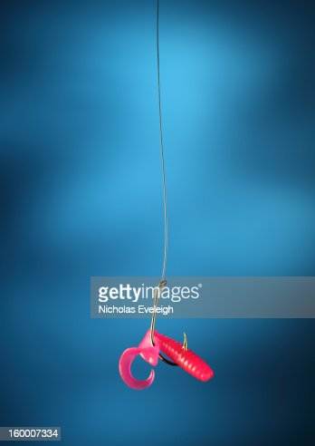 Fishing hook and bait : Stock Photo