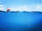 fishing hook underwater