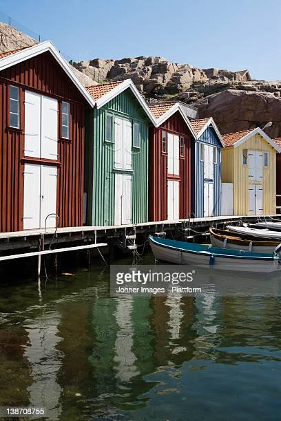 Fishing huts, Smogen, Bohuslan, Sweden.