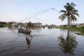 Fishing in Ganvie lake village on Nokoue Lake