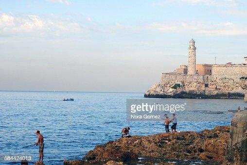 Fishing in Havana : Stock Photo