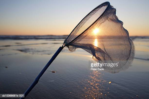 Fishing net and beach at sunset