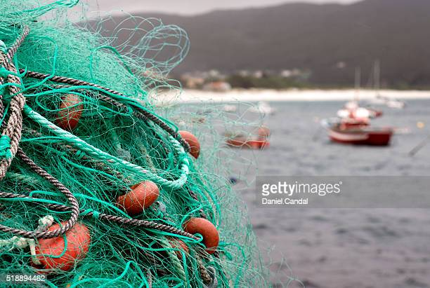 Fishing net and boats, Galicia (Spain)