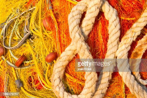 Fishing net and rope in macro