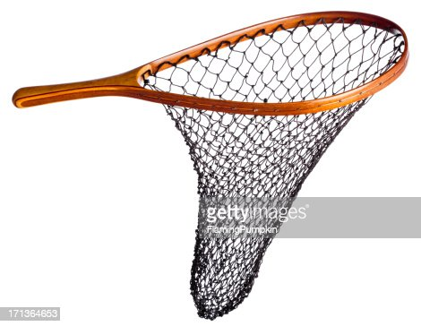 Fishing net with wood handle isolated on white stock photo for Wooden fishing net