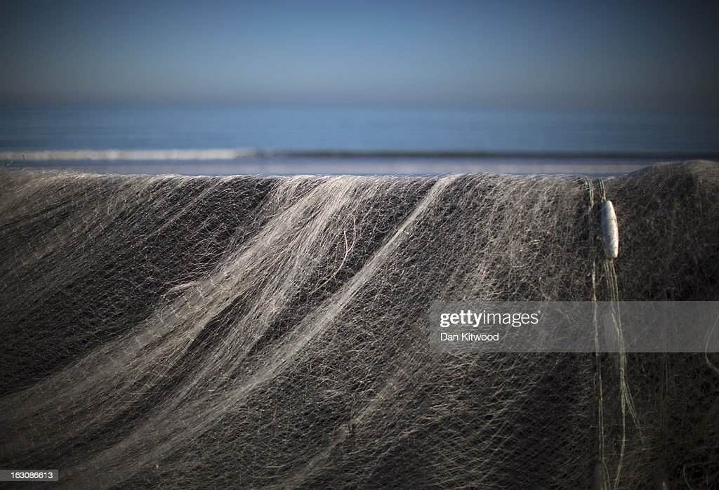 Fishing nets are left on a wall on Filey Beach on March 2, 2013 in Filey, England. The Met office have predicted the warmest day of the year on March 5, with a top temperature of 15 degrees in some parts of the country.