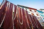 Fishing nets in fishing town of Cudillero, Asturias, Spain
