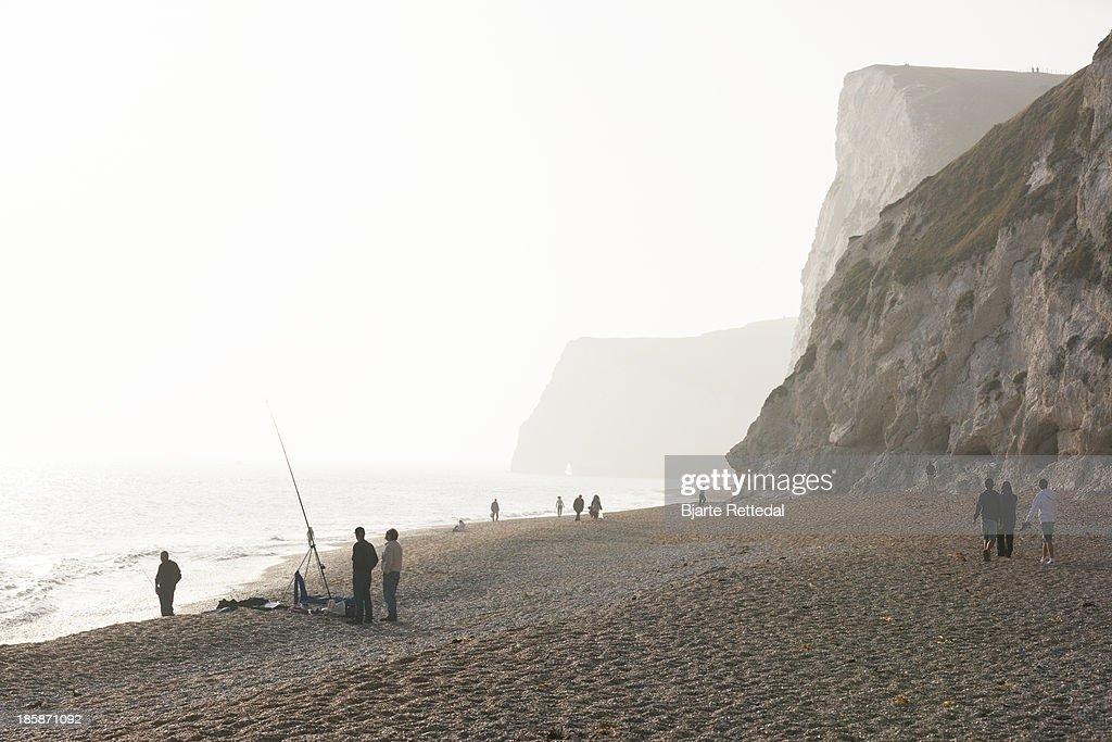Fishing on the beach : Stock Photo